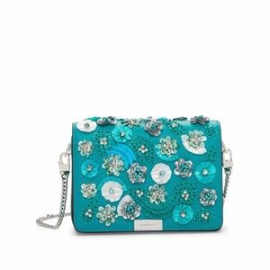 Michael Kors Tile Blue Gusset Clutch Leather